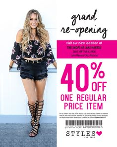 0f1785b7aed Help celebrate the grand re-opening of Styles For Less in LHC w 40. ""