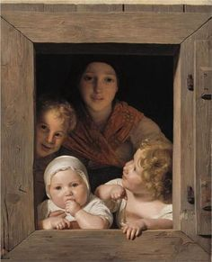 Young Peasant Woman with Three Children at the Window - Ferdinand Georg Waldmüller