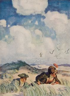 'Gillane Sands' (1924), known by reproduction only - N.C. Wyeth - Color illustration f. p. 136, Robert Louis Stevenson, David Balfour, Being the Memoirs of the Further Adventures of David Balfour at Home and Abroad (New York: Charles Scribner's Sons, 1924)