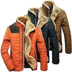 Men's Warm Jackets Parka Outerwear Fur Collar Winter Padded Coat Overcoat Fit | eBay