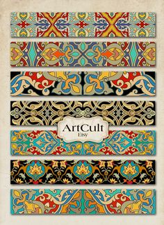 ART STRIPS No6 - Digital Collage Sheet for bracelets cuffs bookmarks borders magnets Printable Paper 1x6 inch images ArtCult graphics