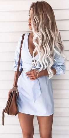 #summer #outfits Blue Dress + Brown Leather Shoulder Bag