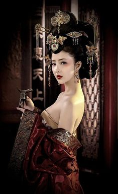 Red Cotton Blends V-neck Maxi Dress – chicboho – BuzzTMZ Japonese Girl, Geisha Art, Dress Clothes For Women, China Girl, Foto Art, Oriental Fashion, Poses, Beautiful Asian Women, Sexy Asian Girls