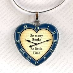 So Many Books So Little Time Navy Blue Pendant by PendantLab on Etsy