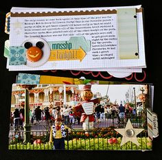 page from a Disney trip mini-album, love the Mickey jack o lantern - The Paper Orchard: Disney
