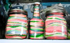 Create Sand Art in old jars - This is a great way to get kids into the upcycling action. Use reclaimed jars to hold beautiful, vibrant sand art that you. Crafts With Glass Jars, Recycled Glass Bottles, Mason Jar Crafts, Bottle Crafts, Mason Jars, Recycle Bottles, Glass Craft, Recycling Containers, Glass Containers
