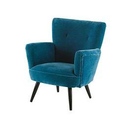 Sao Paulo - Sessel aus Mangoholz mit blauem Samtbezug