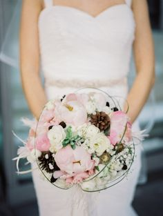 Rustic chic bouquet: http://www.stylemepretty.com/ohio-weddings/cleveland/2014/06/26/gold-and-blush-wedding-inspiration-at-the-cleveland-museum-of-art/   Photography: Studio Elle - http://studioellephotos.com/