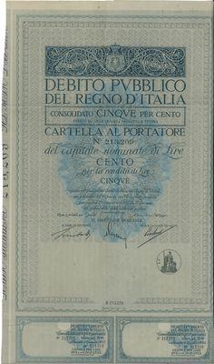 DEBITO PUBBL. DEL REGNO D' ITALIA - CONS. 5% - CARTELLA AL PORT. - LEGGE 6 NOV. 1926 - #scripomarket #scriposigns #scripofilia #scripophily #finanza #finance #collezionismo #collectibles #arte #art #scripoart #scripoarte #borsa #stock #azioni #bonds #obbligazioni