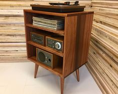 Micro mid century modern record player console, turntable, stereo cabinet with LP album storage, featuring sapele mahogany. Modern Record Player, Record Player Console, Stereo Cabinet, Media Cabinet, Real Wood, Adjustable Shelving, Turntable, Wood Projects, Mid-century Modern