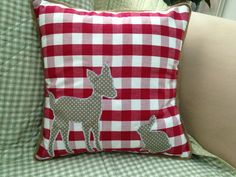 Items similar to Red and White Gingham Cushion Deer and rabbit Appliqué Hessian Trim on Etsy Sewing Projects, Projects To Try, Hessian, Gingham, Christmas Stockings, Deer, Red And White, Rabbit, Applique