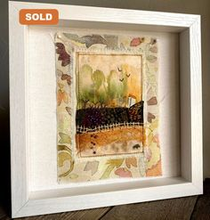 """Hypnotized"" framed tea bag art with stitching, hand-stitched"