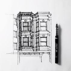 Twins. Bay windows. #sanfrancisco #sketch #drawing #architecture | by Dan Hogman