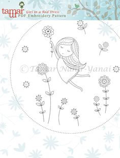 Embroidery Pattern Instant Download Girl in a by TamarNahirYanai