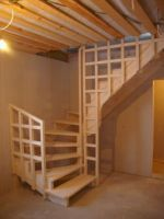 Interior wooden stairs, made of solid oak or beech wood. Solid wood interior stairs made to order according to the requested size and model. Garage Stairs, Tiny House Stairs, Garage Attic, Loft Stairs, Basement Stairs, Rustic Stairs, Wooden Stairs, Floating Stairs, Attic Remodel
