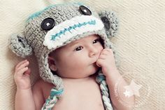 """Zuckersüsse Babymütze """"HUGO-Äffchen"""" in liebevoller Handarbeit hergestellt.  Die Mütze eignet sich hervorragend für die Baby-& Kleinkind-Fotografie od"""