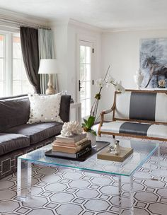 living room by tiffany eastman  This is very similar shape to our lounge room love the windows, curtains, couch, cushion and clear table!