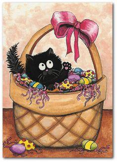 Fuzzy Black Cat  Easter Basket Art  5x7 Print by by AmyLynBihrle