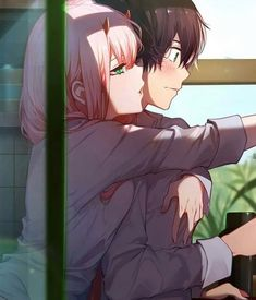 Hiro x zero two - kel anime, anime love couple Couple Manga, Anime Love Couple, Cute Anime Couples, I Love Anime, Fanarts Anime, Manga Anime, Anime Cosplay, Kunst Poster, Zero Two