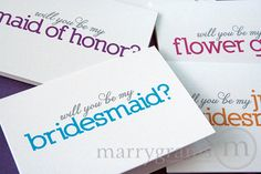 Colorful Will You Be My Bridesmaid Cards, Maid of Honor, Wedding Party Card - Ask Bridesmaids, Flower Girls, Bridal Party (Set of 4) on Etsy, $12.00