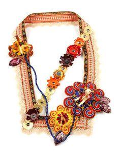 Yanli Duan Necklace: To Tibet series, 2012 Textile, wool, plastic, leather, resin, aluminum , lapis, LED 28×38×7cm