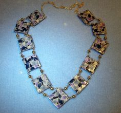 Purple and green decoupage necklace