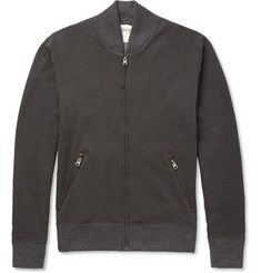 Billy Reid Aubrey Leather-Trimmed Cotton and Alpaca-Blend Zipped Sweatshirt