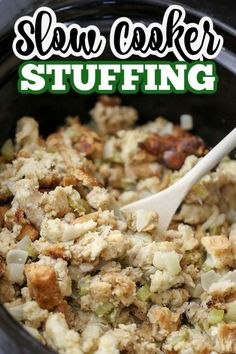 This SLOW COOKER STUFFING recipe takes my Mom's favourite classic stuffing recipe into an easy holiday meal side dish that frees up oven space. Crockpot Stuffing, Homemade Stuffing, Stuffing Recipes, Slow Cooker Chili, Slow Cooker Recipes, Crockpot Recipes, Traditional Stuffing Recipe, Classic Stuffing Recipe, Jerk Chicken