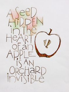 Later in the day, we worked with text and either added it to our existing apple images, or we drew new ones. I did this quote and drawing with the tip of a folded pen, walnut ink, and colored pencil. (This is unfinished. Apple Quotes, Fruit Quotes, Calligraphy R, Apple Images, Sympathy Quotes, Words Quotes, Sayings, Selfie Quotes, Apple Theme