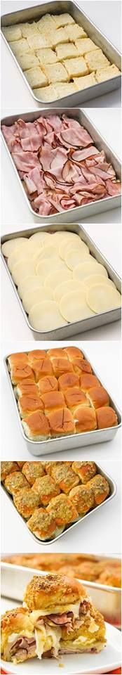 Hawaiian Ham and Cheese Sliders. Preheat oven 350*, in 9x13 pan place bottom of Hawaiian Sweet Rolls, black forest deli ham slices, 20 slices provolone cheese, spread 8oz.cream cheese on inside of top bun. Topping : mix 1/2 cup butter, melted, 1 tbsp mustard, 1 tbsp Worcestershire sauce, 2 tbsp dried minced onions, 1/4 cup grated Parmesan cheese pour over buns. Sprinkle with 2Tbsp. poppy seed. Cover bake 25 min. or until cheese is melted and heated thru.
