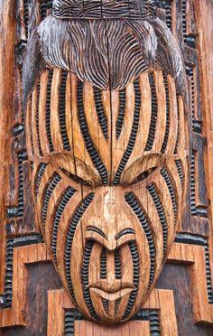 Maori Art, Wood Carving, Rotorua, New Zealand by stephanieetstephane, Polynesian Art, Polynesian Culture, Arte Tribal, Tribal Art, Abstract Sculpture, Wood Sculpture, Bronze Sculpture, Maori People, Tiki Mask