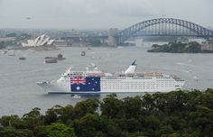 Carnival Australia - P Cruises - Pacific Sun - Australia Day Pacific Sun unfurls the Australian flag on Australia Day Photographer credit: James Morgan. Happy Australia Day, P&o Cruises, Australian Flags, Sydney Harbour Bridge, Carnival, Sun, Gallery, Travel, Image