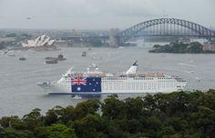 Carnival Australia - P Cruises - Pacific Sun - Australia Day 2012.  Pacific Sun unfurls the Australian flag on Australia Day 2012. Photographer credit: James Morgan.