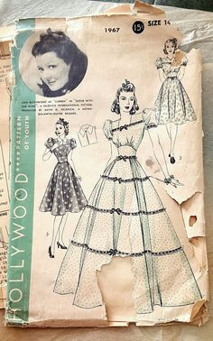 RARE Hollywood Sewing Pattern 1940s 40s Careen Gone with the Wind Vintage Sewing Pattern Size 14 Bust 32 MGM starlet