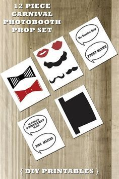 Vintage Circus Photo Booth Prop Set – Ensure that your guests have a fun time with these downloadable photo booth props from Vintage Wedding Press, which can be printed, cut and secured onto skewer sticks before being displayed at your photo booth.  Get the DIY here.
