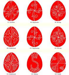 Egg patterns from Gyimes - Hungarian folk art motifs Easter Arts And Crafts, Egg Crafts, Eastern Eggs, Egg Template, Polish Easter, Easter Egg Pattern, Carved Eggs, Easter Egg Designs, Ukrainian Easter Eggs