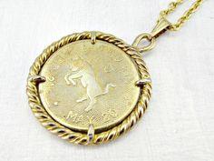 Vintage Mens Astrology Necklace, TAURUS Zodiac Necklace, Gold Coin Necklace, Gold Bull Pendant Necklace, 1970s Astrology Zodiac Jewelry