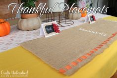 Thankful Thanksgiving Placemats over on Crafts Unleashed