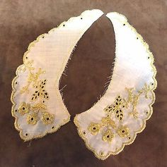 Vintage Childs Gold Embroidered Collar