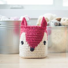 Crochet your own Fox Basket that can be easily converted into a pillow or cushion!  Makes a whimsical addition to any nursery or space!