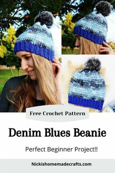 Learn how to crochet this Denim Blues Hat which is a Free Crochet Pattern by Nicki's Homemade Crafts you can make over the weekend easily. Video tutorial is provided also. It's the perfect Fall and Winter Hat with Pom pom. #crochet #hat #beanie #denim #blue #pom-pom #fauxfur #linkedcrochet #freecrochetpattern #crochetpattern Crochet Ear Warmer Pattern, Crochet Beanie Pattern, Crochet Hats, Knit Hats, Easy Beginner Crochet Patterns, Crochet For Beginners, Slouchy Beanie, Homemade Crafts, Crochet Clothes