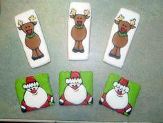 Santa And Reindeer Cookies Christmas Reindeer Cookies, Santa Cookies, Santa And Reindeer, Sweet Treats, Cakes, Winter, Winter Time, Sweets, Candy