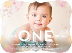 Lola's turning one! Celebrate her first birthday with a designer photo invitation. Baby girl is growing up too quickly.
