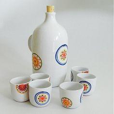 modranska / set s fľaškou kvet Ceramics, Mugs, Folklore, Tableware, Google Search, Art, Ceramica, Art Background, Pottery