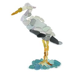 Great blue heron taking a dip #seaglass #seaglassart