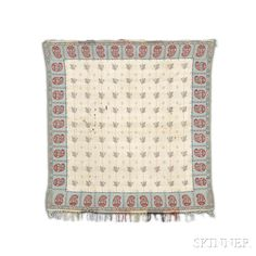 Square Shawl, France, c. 1830, 4 ft. 4 in. x 4 ft. 1 in.     Provenance: The Arlene Cooper Collection.   Skinner Auctioneers Sale 2942T