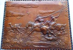 Vintage hand tooled leather picture of Argentine gauchos