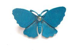 VINTAGE 50 S BLUE ENAMEL BUTTERFLY CRYSTAL BROOCH - BOXED