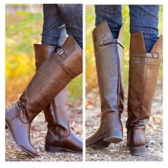 "• Chocolate Riding Boot • Countryside Chocolate Riding Boots. gorgeous, high quality, knee high riding boots in chocolate brown. 100% vegan leather. Features a half zipper for easy on and off, as well as an adjustable calf strap. Calf diameter 15-17"". Boot Height: 19"". Heel Height: 1.5"". Wear these with a nice sweater and you're all set! True to size.   PLEASE DO NOT purchase this listing. Comment what size you need below and I'll make you a separate listing.   No Trades. Price Firm…"