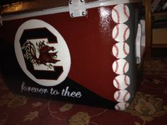 My painted cooler: back. USC Carolina gamecocks all painted.